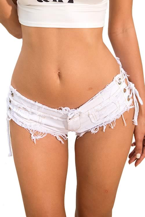 White Sexy Women Fringe Lace Up Low Rise Denim Shorts
