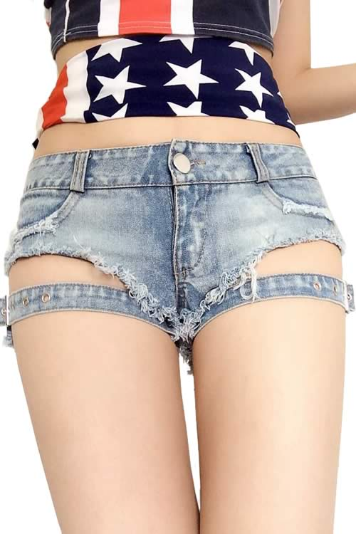 Blue Sexy Women Front Buckle Fringe Ripped Low Rise Denim Shorts