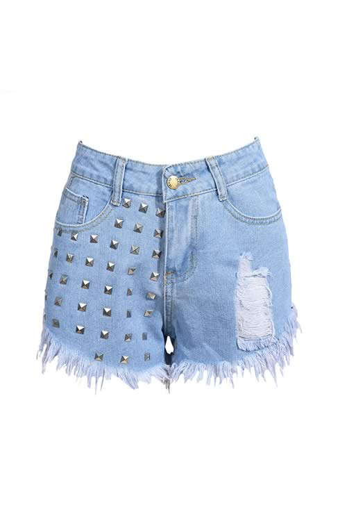 Blue Sexy Rivets Jean Shorts Ripped Fringe High Waist Denim Shorts