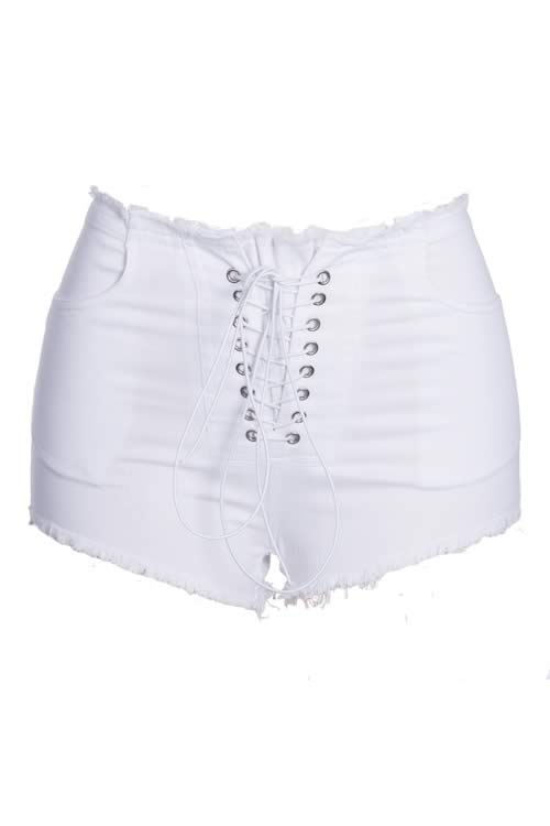 White Lace Up High Waist Denim Shorts Sexy Cut Off Jean Shorts