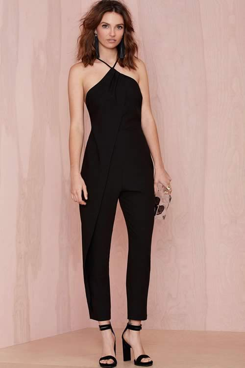 Women Strappy Cutout Sexy Jumpsuit in Black