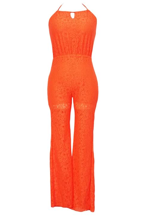 Drawstring Halter Neck Lace Jumpsuit for Women