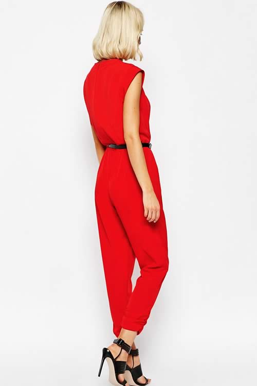Cut out Wrap Front Belted Sleeveless Jumpsuit in Red