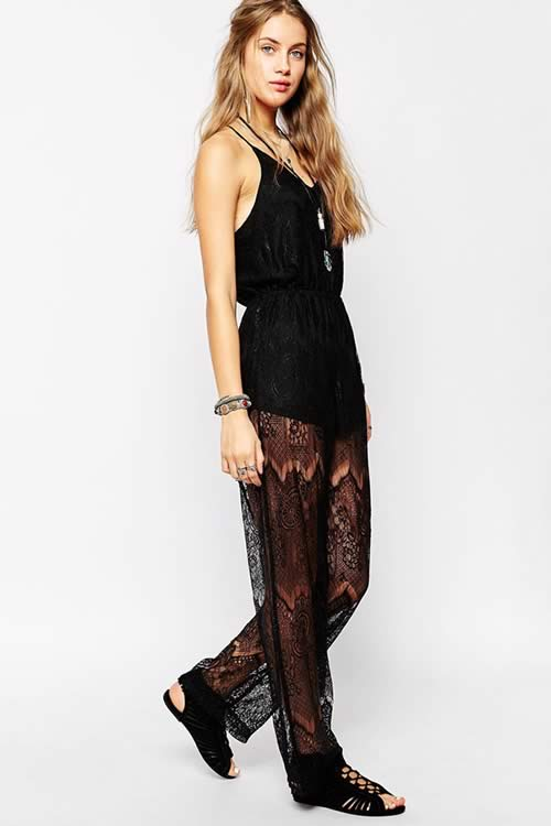 Crossover Spaghetti Strap Lace Overlay Jumpsuit in Black