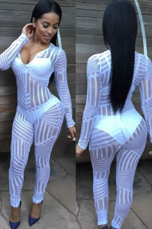Body Glove Lace V Neck Long Sleeve Jumpsuit in White