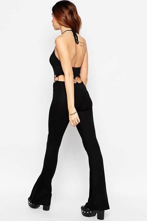 Sleeveless Backless Metal O Ring Wide Leg Jumpsuit in Black