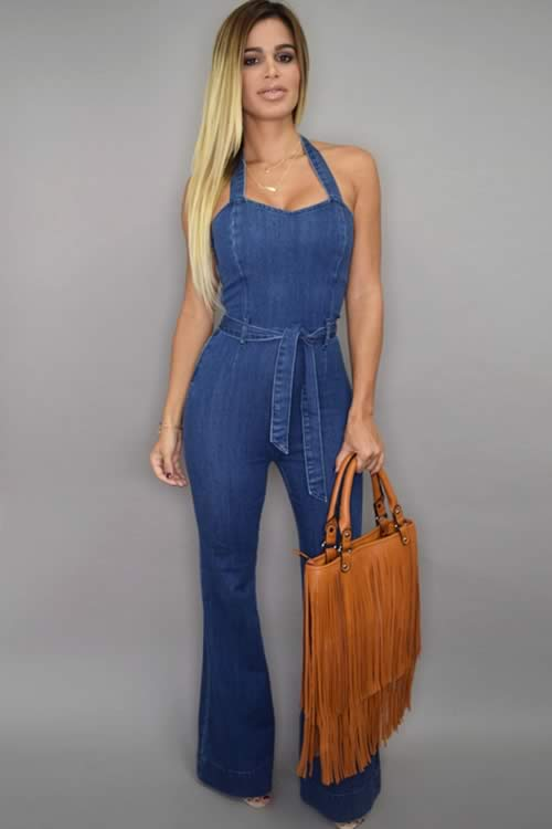 Street Style Womens Halter Denim Wide Leg Jumpsuit in Blue