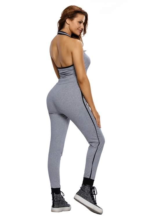 Drawstring Waist V Neck Sleeveless Jumpsuit in Grey