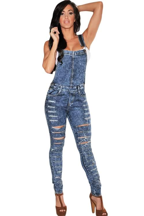 Acid Wash Destroyed Denim Jumpsuit in Dark Blue