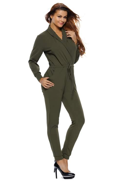 Casual Army Green Long Sleeve V Neck Jumpsuit