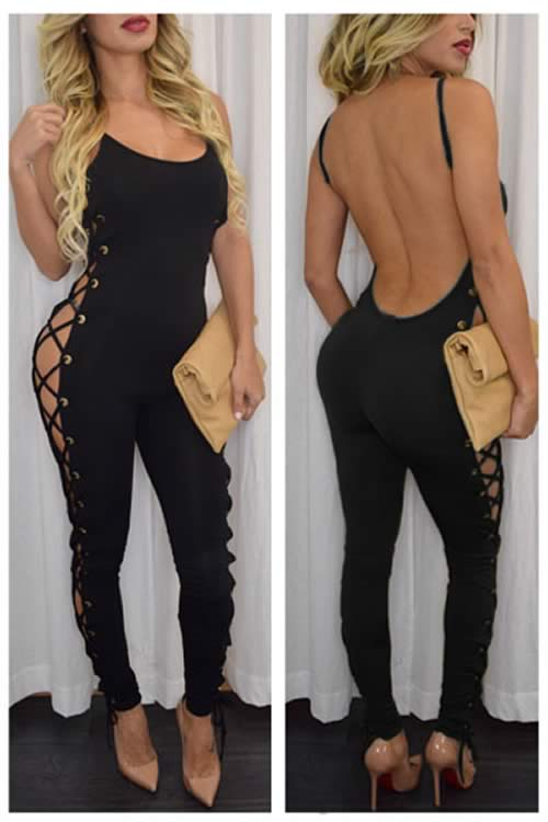 Open Lace Up Side Backless Party Jumpsuit in Black