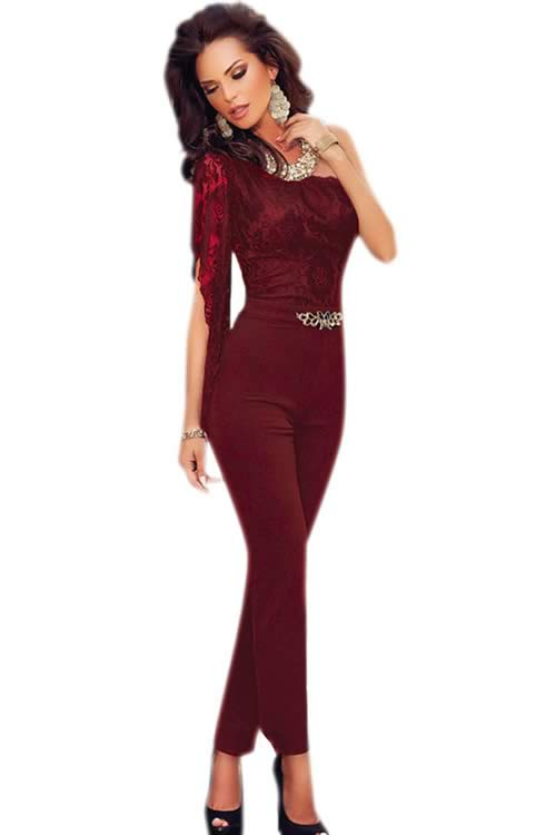 Asymmetric One Shoulder See Through Lace Jumpsuit in Red