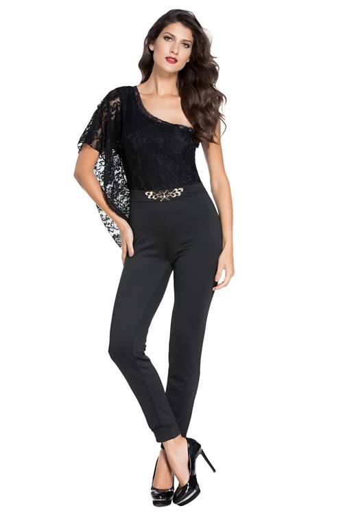 Asymmetric One Shoulder See Through Lace Jumpsuit in Black