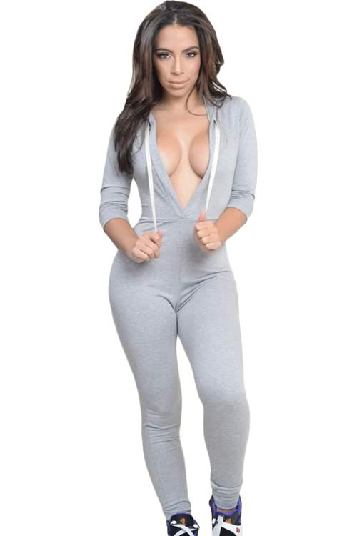 Drawstring Hooded 3/4 Sleeve Jumpsuit in Grey