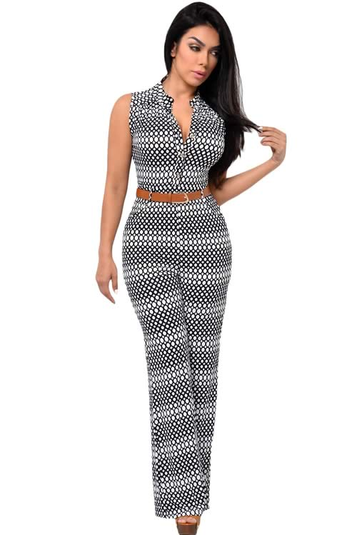 Circle Printed Belted V Neck Wide Leg Jumpsuit in Black White
