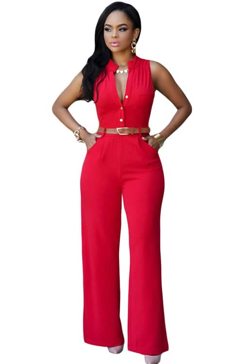 Belted V Neck High Waisted Wide Leg Jumpsuit in Red