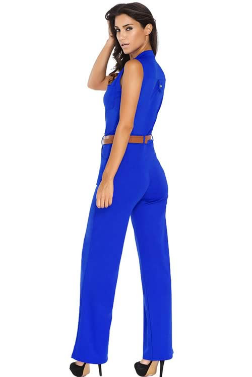 Belted V Neck High Waisted Wide Leg Jumpsuit in Blue