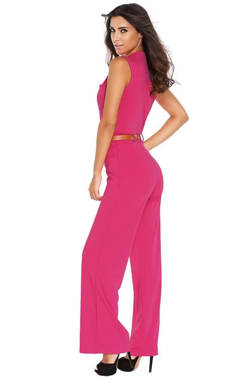 Belted V Neck High Waisted Wide Leg Jumpsuit in Rose