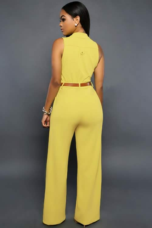 Belted V Neck High Waisted Wide Leg Jumpsuit in Yellow
