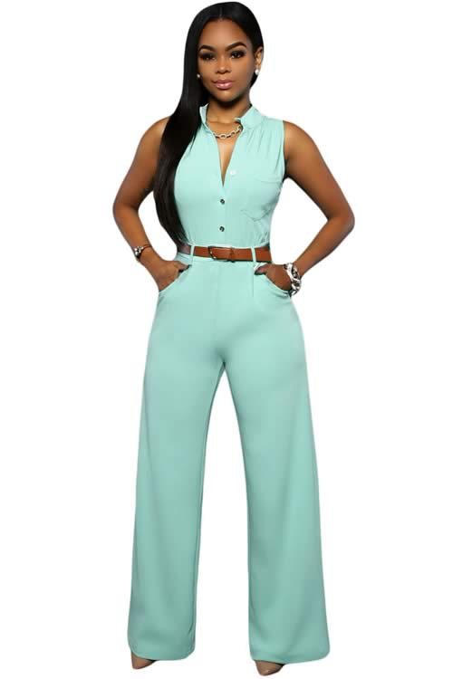 Belted V Neck High Waisted Wide Leg Jumpsuit in Light Blue
