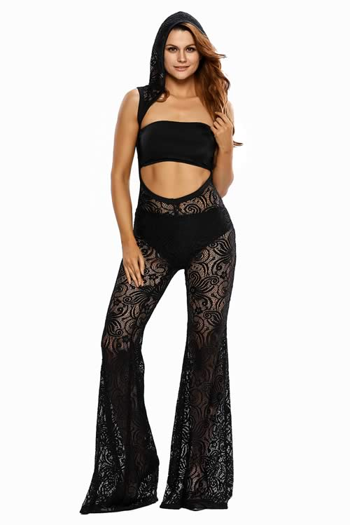 Womens Hooded Lace Wide Leg Jumpsuit in Black