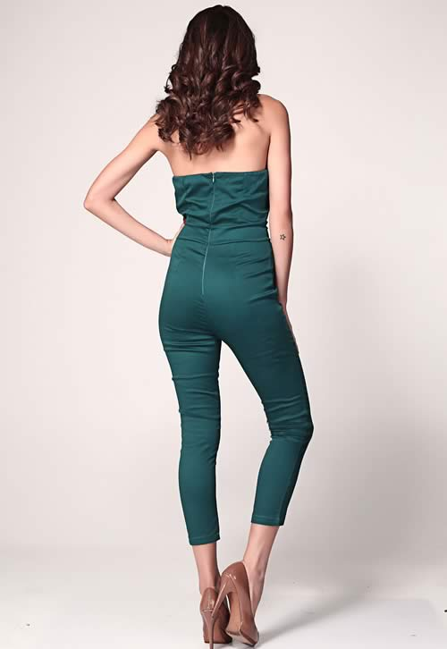 Pleated Bust Origami V Neck Off Shoulder Jumpsuit in Green