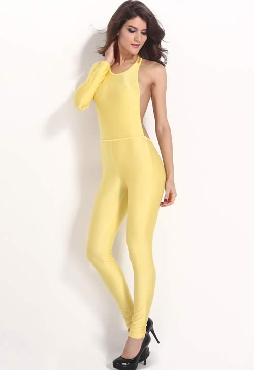 One Sleeve Hollow Out Cut Party Jumpsuit in Yellow