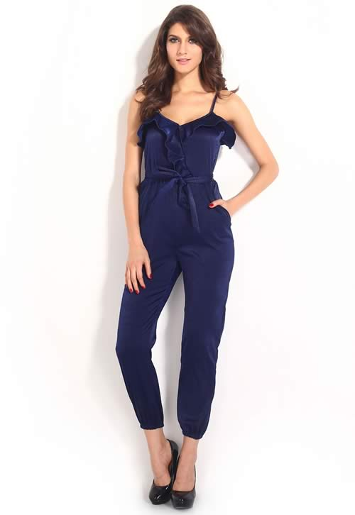 Ruffle Trim V Neck Jumpsuit in Blue with Belt
