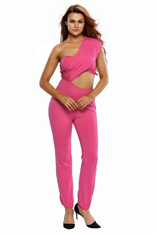 One Shoulder High Waisted Long Pant Jumpsuit in Bright Pink