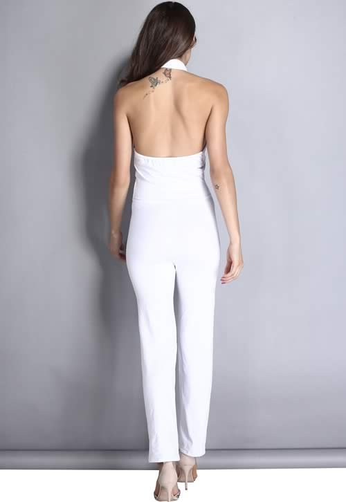 Sleeveless Crossover Neck Backless Party Jumpsuit in White