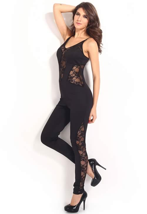 Womens Spaghetti Strap Lace Insert Club Jumpsuit in Black