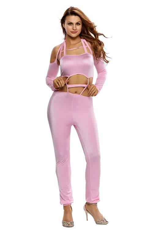 Off Shoulder Long Sleeve Cut Out Bandeau Jumpsuit in Pink