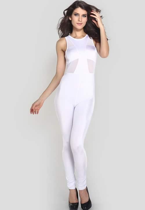 Womens Mesh Stitching Sleeveless Stylish Jumpsuit in White