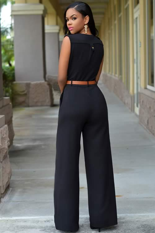 V Neck Sleeveless Belt Embellished Wide Leg Jumpsuit in Black