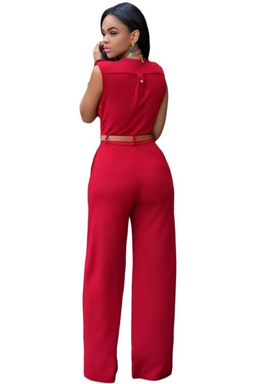 V Neck Sleeveless Belt Embellished Wide Leg Jumpsuit in Red