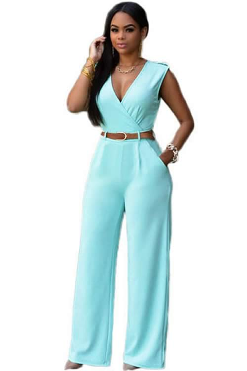 V Neck Sleeveless Belt Embellished Wide Leg Jumpsuit in Green
