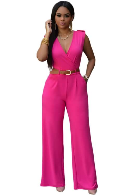 V Neck Sleeveless Belt Embellished Wide Leg Jumpsuit in Rose