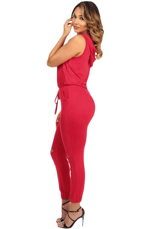 Sleeveless Knee Cutout Hooded Jumpsuit in Red