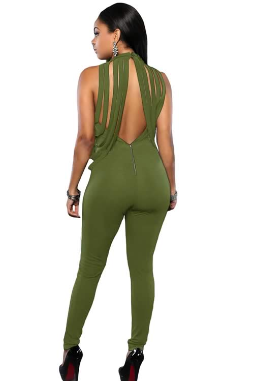 Sleeveless Draped Fringe Halter Neck Jumpsuit in Green