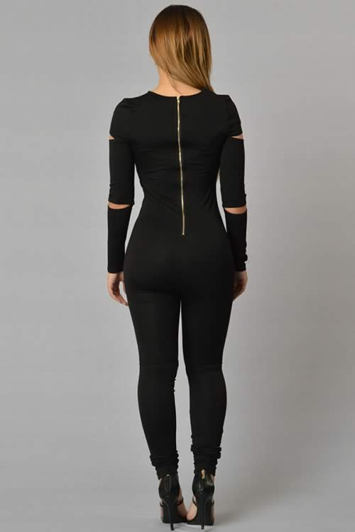 Open Slit Skinny Long Sleeve Tapered Leg Jumpsuit in Black