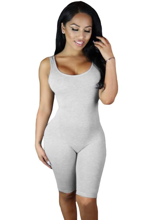 Womens Double Scoop Neck Sleeveless Jumpsuit in Grey