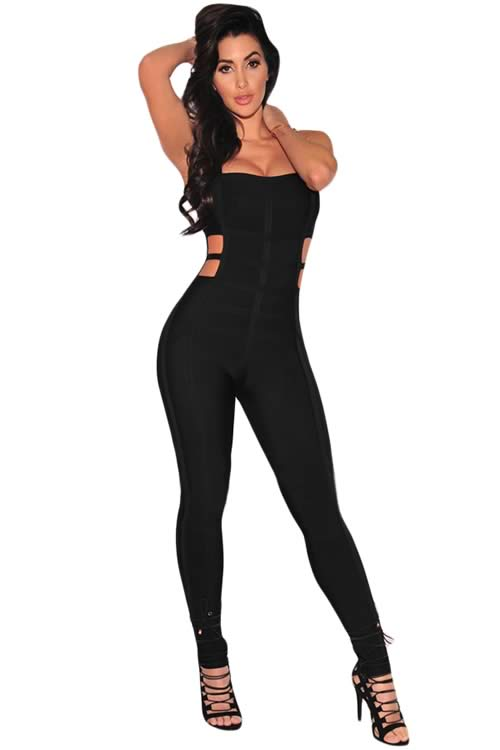 Sleeveless Cut Out Bandage Jumpsuit for Women in Black