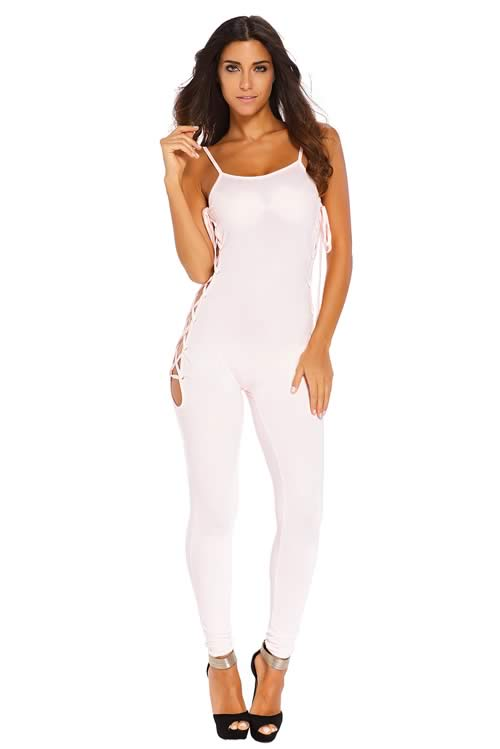 Sleeveless Lace up Crisscross Jumpsuit in Pink
