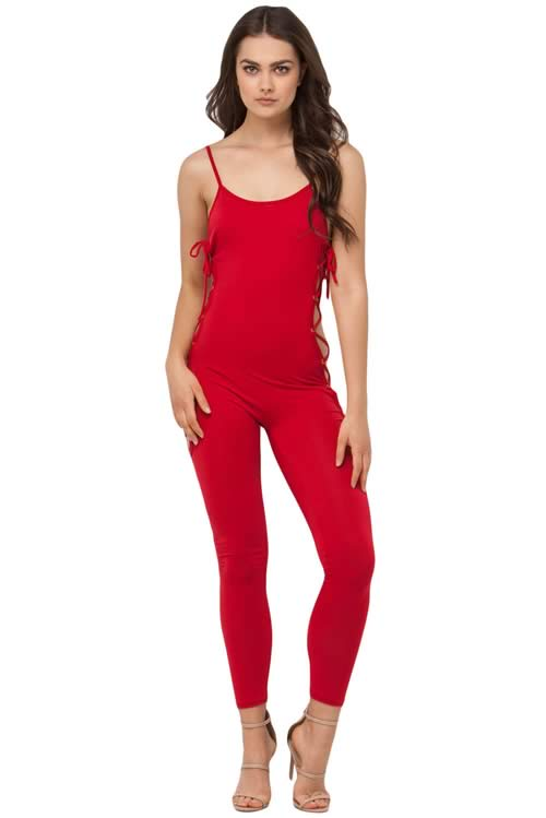 Sleeveless Lace up Crisscross Jumpsuit in Red