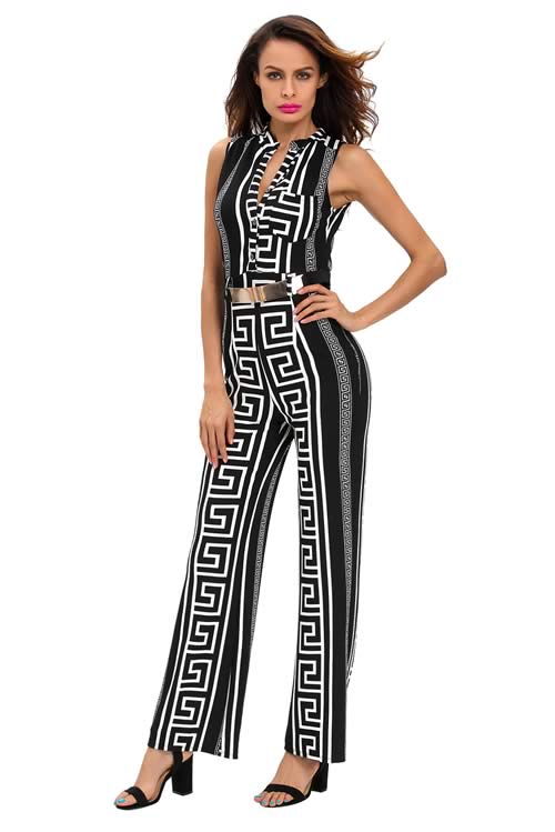 Pattern Printed Gold Belted Wide Leg Jumpsuit in Black