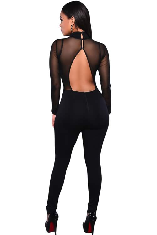 Long Sleeve Mesh Top Turtleneck Jumpsuit in Black