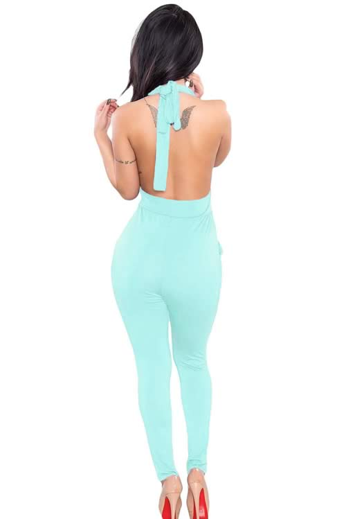 Plunging V Neck Halter Backless Jumpsuit in Light Blue
