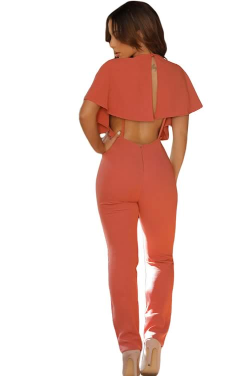 Frill Cape Sleeve V Neck Open Back Jumpsuit in Orange
