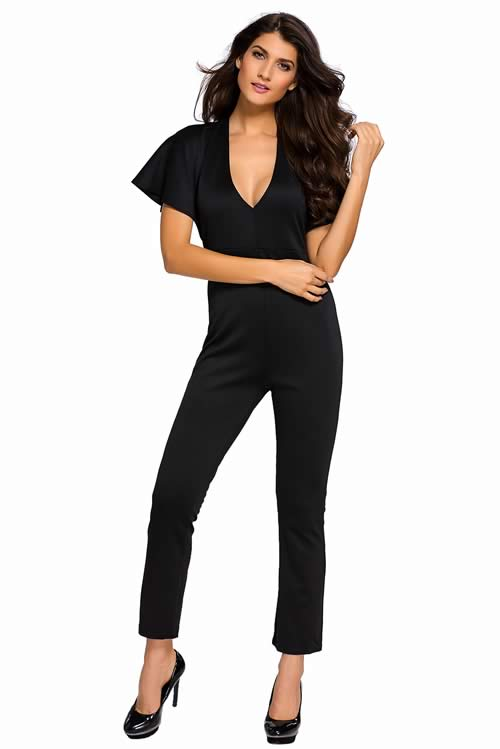 Frill Cape Sleeve V Neck Open Back Jumpsuit in Black