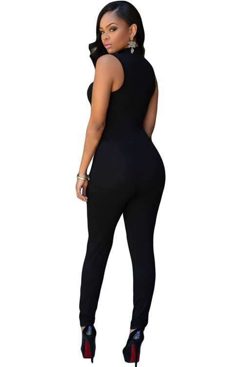 High Neck Sleeveless Tapered Leg Jumpsuit in Black